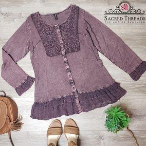 Sacred threads small embroidered ruffle boho top